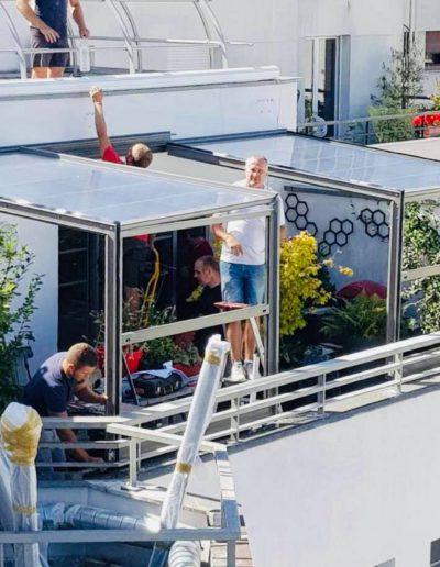 Réalisation d'une véranda sur une terrasse