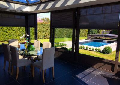 abri piscine bas avec véranda belgique